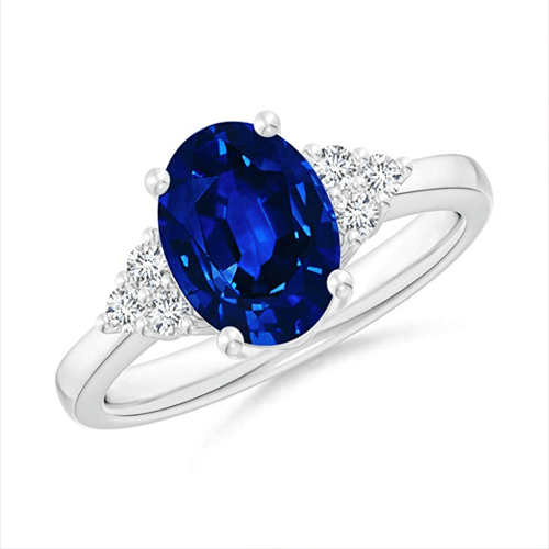 Angara - Solitaire Oval Blue Sapphire and Diamond Promise Ring 1