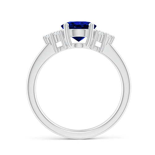 Angara - Solitaire Oval Blue Sapphire and Diamond Promise Ring 2