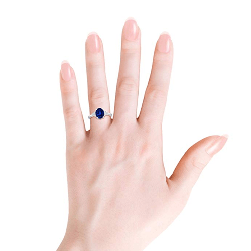 Angara - Solitaire Oval Blue Sapphire and Diamond Promise Ring 4