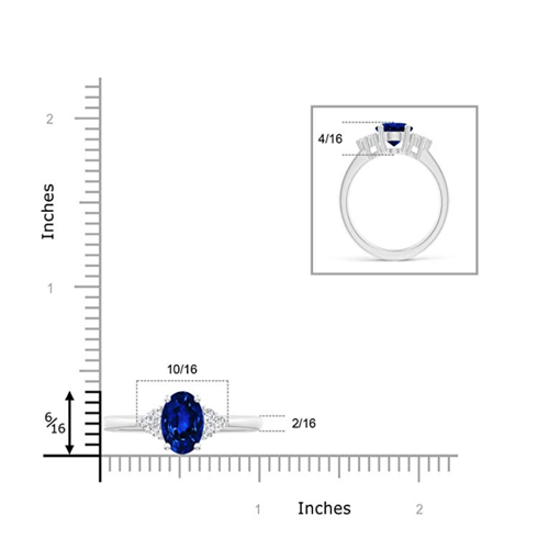 Angara - Solitaire Oval Blue Sapphire and Diamond Promise Ring 5