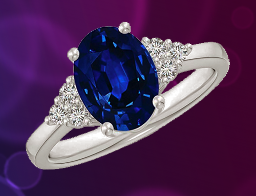 ANGARA  – Solitaire Oval Blue Sapphire and Diamond Promise Ring