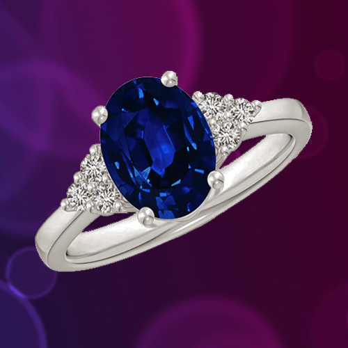 Angara - Solitaire Oval Blue Sapphire and Diamond Promise Ring A
