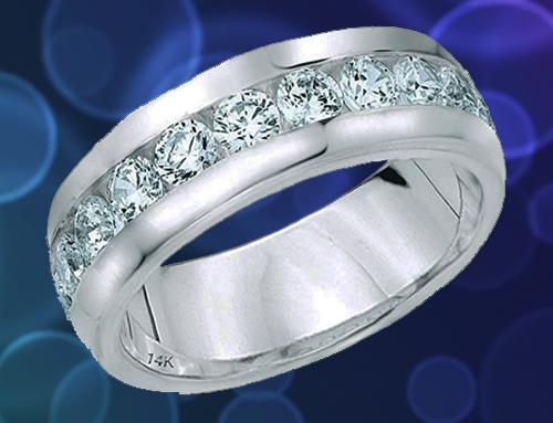 ETERNITY WEDDING BANDS – Classic Men's Diamond Promise Ring in 14K White-Gold