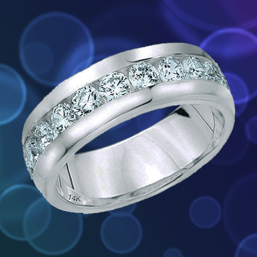 ETERNITY WEDDING BANDS - Classic Men's Diamond Promise Ring in 14K White-Gold 1A