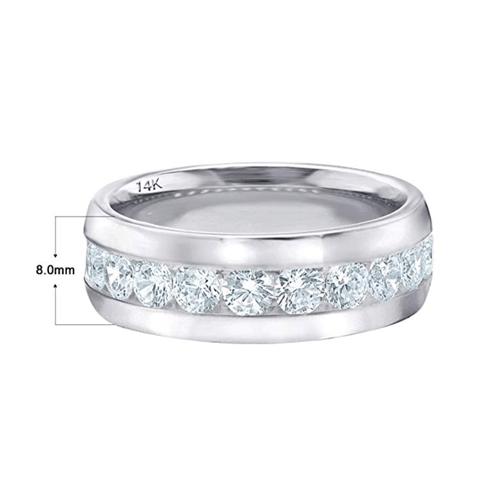 ETERNITY WEDDING BANDS - Classic Men's Diamond Promise Ring in 14K White-Gold 2