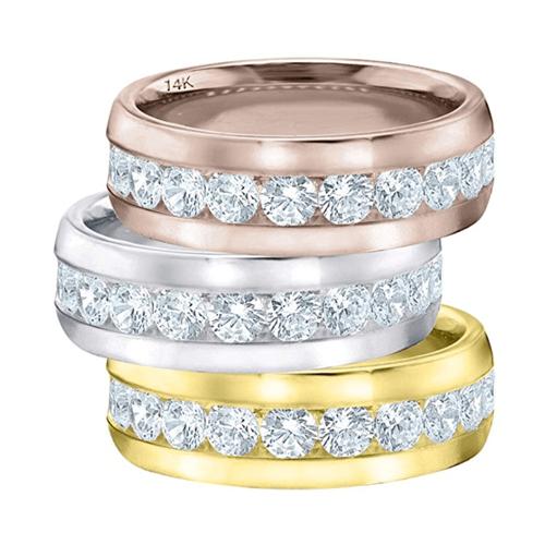 ETERNITY WEDDING BANDS - Classic Men's Diamond Promise Ring in 14K White-Gold 7