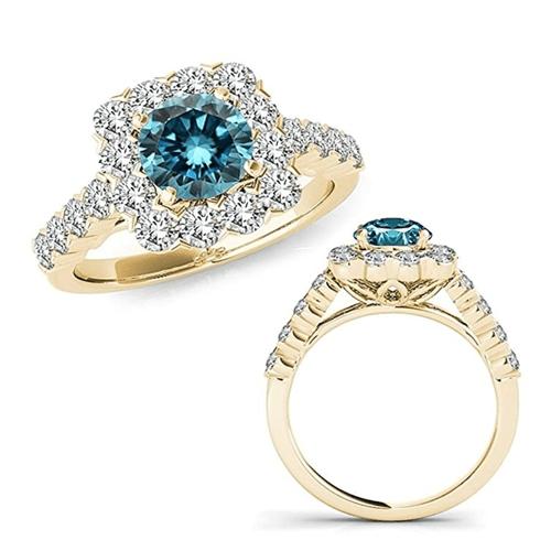 JASCINA - Blue Diamond Cushion Halo Yellow Gold Promise Ring 3
