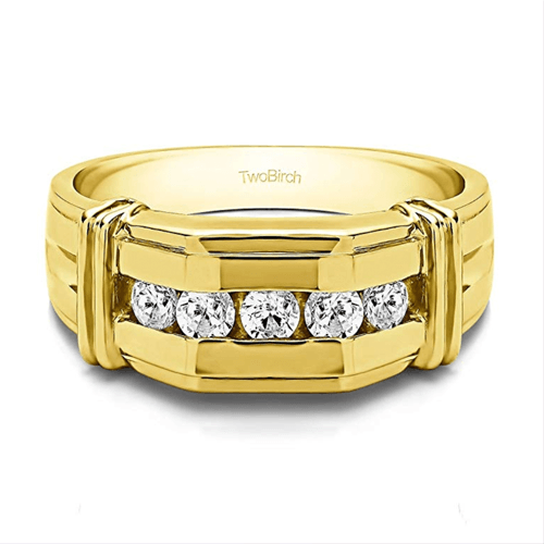 TWOBIRCH - 14k Yellow Gold Diamond Men Promise Ring 1