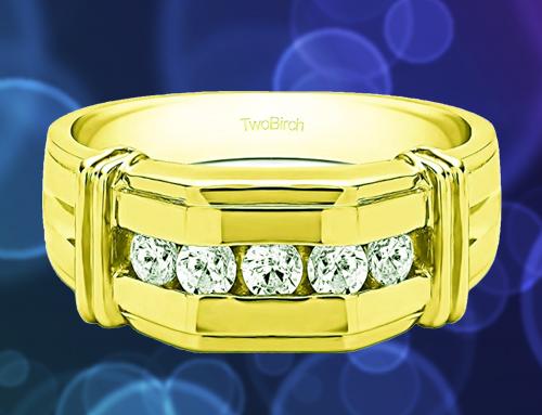 TWOBIRCH – 14k Yellow Gold Diamond Men Promise Ring
