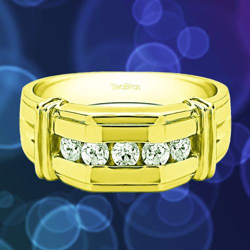TWOBIRCH - 14k Yellow Gold Diamond Men Promise Ring 1A