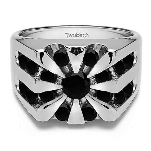 TWOBIRCH - Unique 10k White-Gold Black Diamonds Men's Promise Ring 1