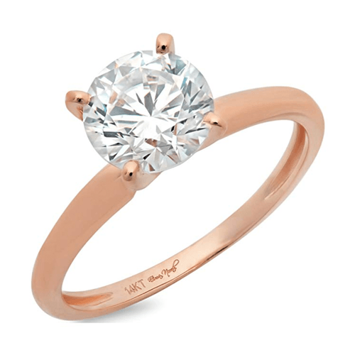DQ Jewelry - 1.58ct CZ Brilliant 14k Rose Gold Solitaire Promise Ring 1