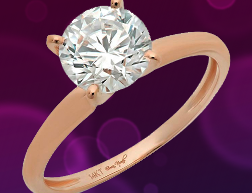 DQ Jewelry – 1.58ct CZ Brilliant 14k Rose Gold Solitaire Promise Ring