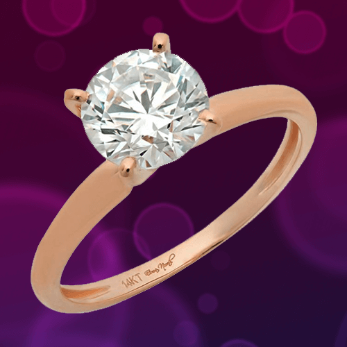 DQ Jewelry - 1.58ct CZ Brilliant 14k Rose Gold Solitaire Promise Ring 1A