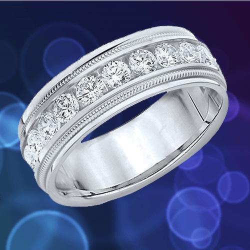 ETERNITY WEDDING BANDS - Platinum Diamond Polished Milgrain Ring 1A
