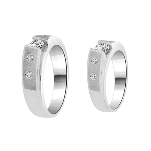 GiveMeGold - CZ Crystals 14K White Gold Promise Rings For Couples 2