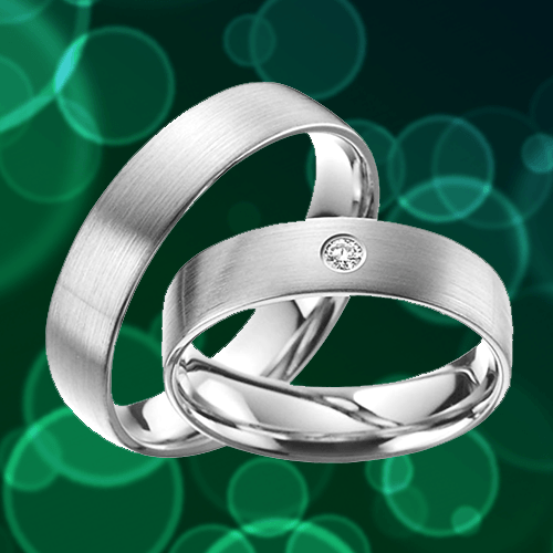 Skielka Designschmuck - Stunning Platinum Promise Rings with Diamond 1A