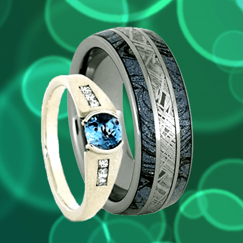 The Men's Jewelry Store - Sky Blue Topaz Gibeon Meteorite Couple Promise Rings 1A