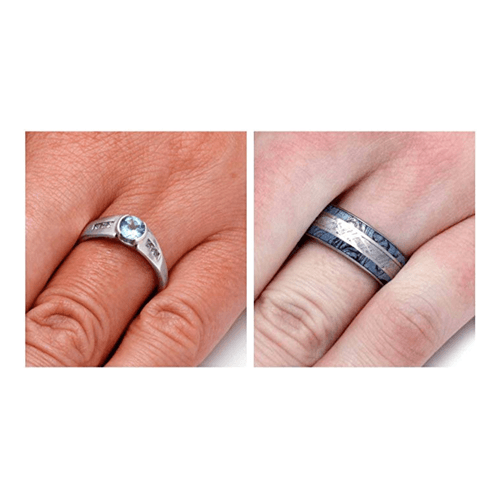 The Men's Jewelry Store - Sky Blue Topaz Gibeon Meteorite Couple Promise Rings 4