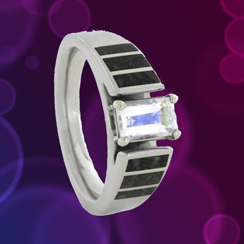 The Men's Jewelry Store (for HER) - 14k White Gold Rainbow Moonstone Cathedral 1A