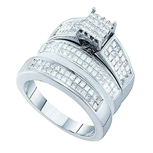 Dazzlingrock Collection - White Gold White Diamond Promise Rings for Couples 1