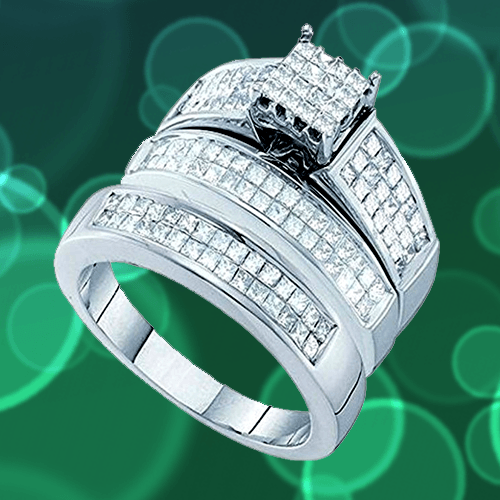 Dazzlingrock Collection - White Gold White Diamond Promise Rings for Couples 1A