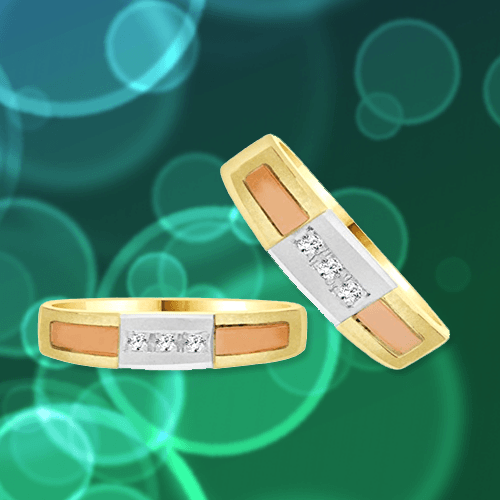 GiveMeGold - 14K Tricolor Gold Promise Rings 1A