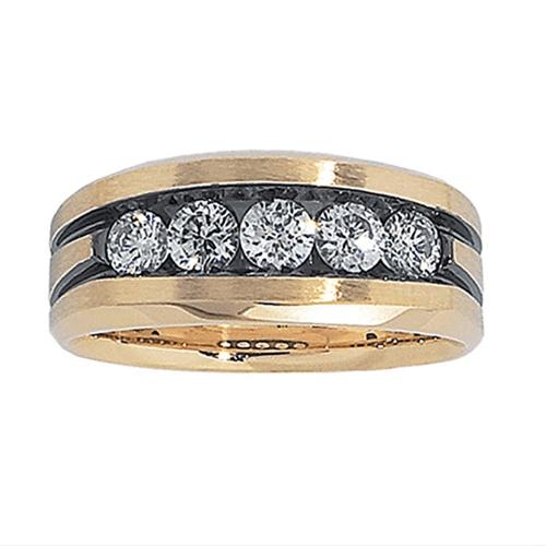 J.Goodman - 14k Yellow Gold 1ct Black Rhodium Promise Ring 1