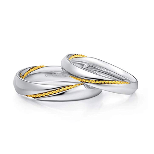 MMGN - Platinum and Gold Interwoven Love Promise Rings 1