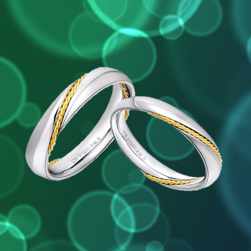 MMGN - Platinum and Gold Interwoven Love Promise Rings 1A