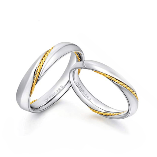 MMGN - Platinum and Gold Interwoven Love Promise Rings 2