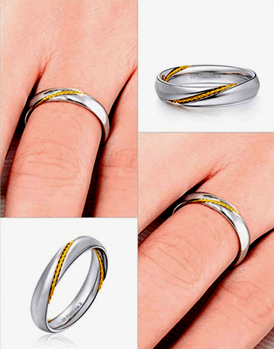 MMGN - Platinum and Gold Interwoven Love Promise Rings 3