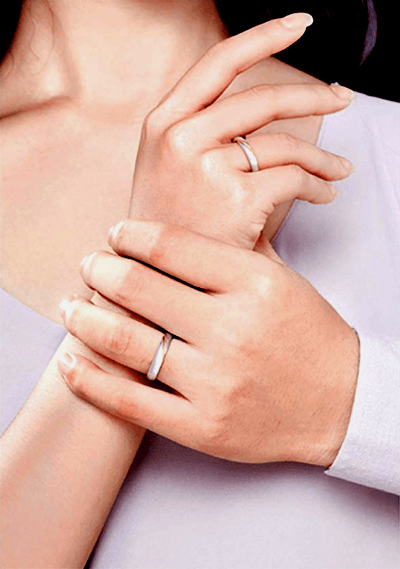 MMGN - Platinum and Gold Interwoven Love Promise Rings 4