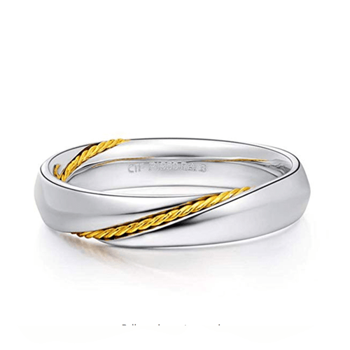 MMGN - Platinum and Gold Interwoven Love Promise Rings 5