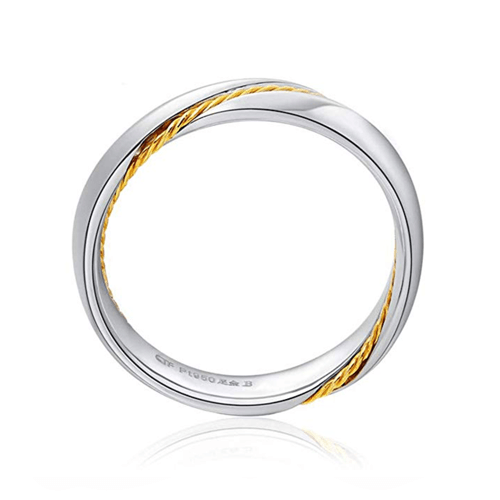 MMGN - Platinum and Gold Interwoven Love Promise Rings 6