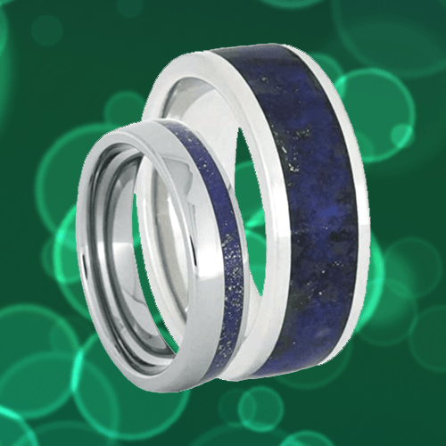 The Men's Jewelry Store - Lapis Lazuli Promise Rings for Couples 1A