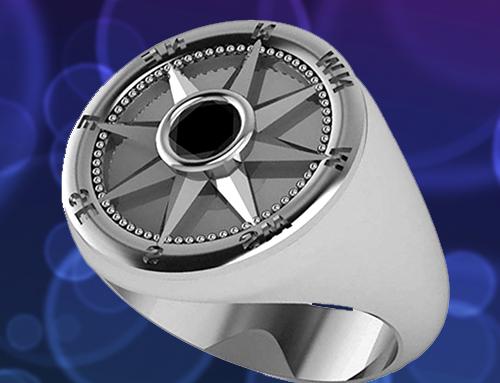 Allurez – Men's Black Diamond Nautical Compass Palladium Promise Ring