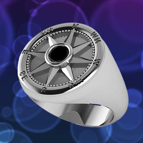 Allurez - Men's Black Diamond Nautical Compass Palladium Promise Ring 1A