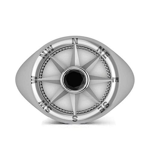 Allurez - Men's Black Diamond Nautical Compass Palladium Promise Ring 2