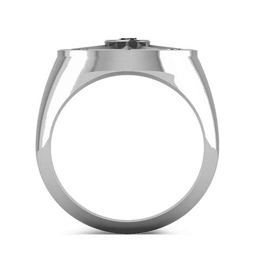 Allurez - Men's Black Diamond Nautical Compass Palladium Promise Ring 3