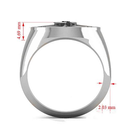 Allurez - Men's Black Diamond Nautical Compass Palladium Promise Ring 4