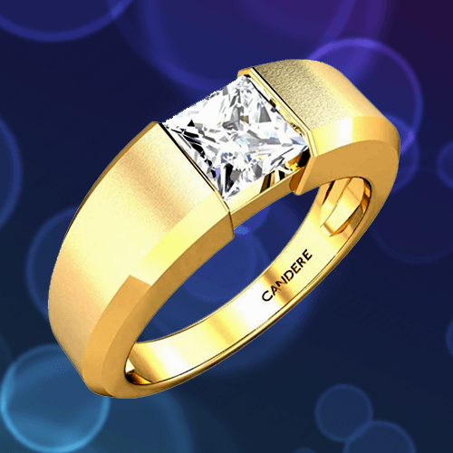 Candere - Yellow Gold White Diamond Solitaire Promise Ring for Him 1A