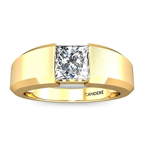 Candere - Yellow Gold White Diamond Solitaire Promise Ring for Him 2