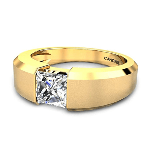 Candere - Yellow Gold White Diamond Solitaire Promise Ring for Him 3