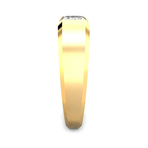 Candere - Yellow Gold White Diamond Solitaire Promise Ring for Him 4