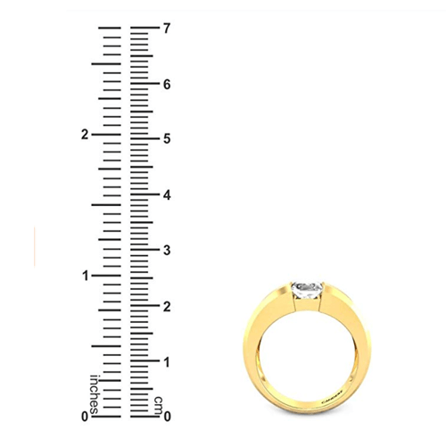 Candere - Yellow Gold White Diamond Solitaire Promise Ring for Him 5