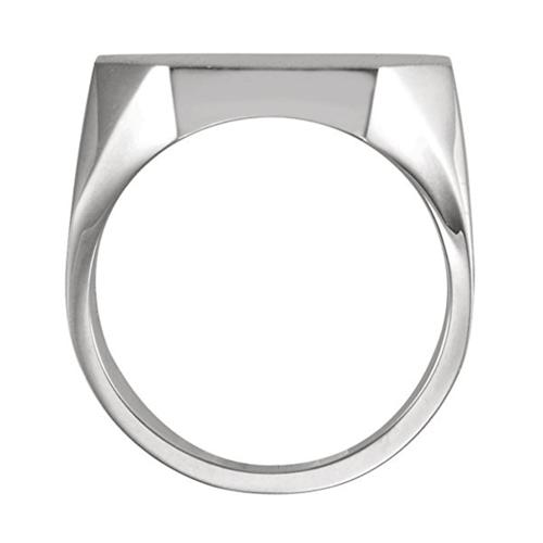 The Men's Jewelry Store - Men's Satin Brushed Signet Platinum Promise Ring 2
