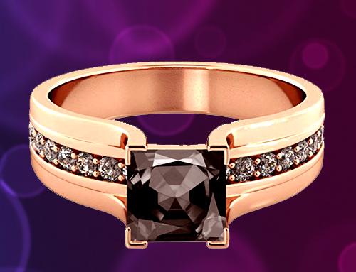 Diamond Mine – Black Diamond 14K Rose Gold Promise Ring