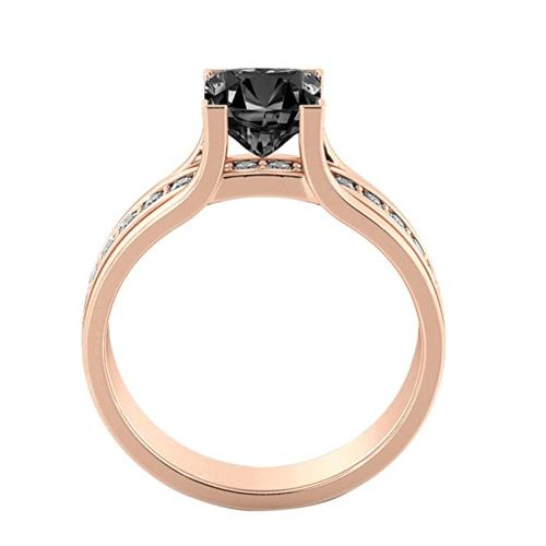 Diamond Mine - Black Diamond 14K Rose Gold Promise Ring 4