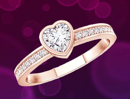 Angara – Bezel Set Heart Diamond Rose-Gold Promise Ring
